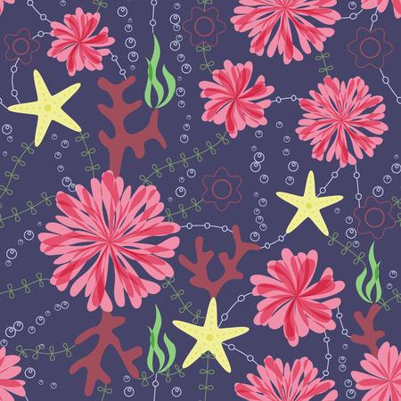 sea anemone: Vector marine flowers vintage seamless pattern on dark blue Illustration