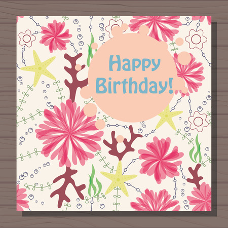 sea anemone: Vector birthday card with marine flowers vintage on wooden background