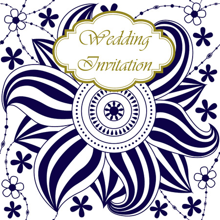 big flower: Vector wedding invitation with big flower