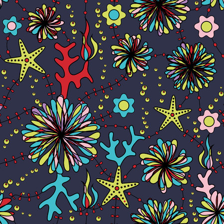 bubble sea anemone: Vector marine flowers colorful seamless pattern Illustration