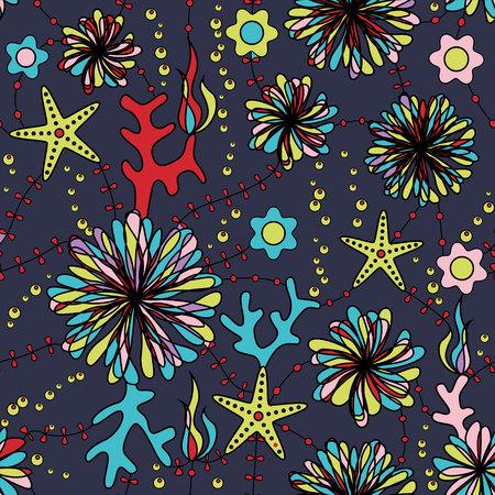 sea anemone: Vector marine flowers colorful seamless pattern Illustration