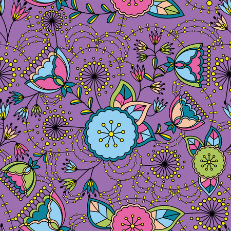 stamen: Vector poppy and dandelion seamless pattern colorul