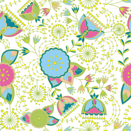 Vector poppy and dandelion seamless pattern colorul