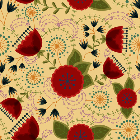 stamens: Vector poppy and dandelion seamless pattern retro