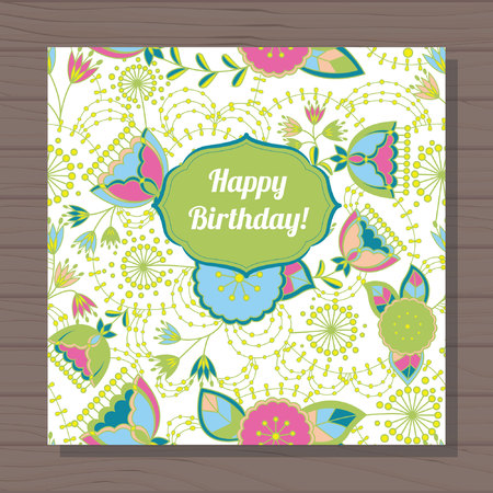 stamens: Vector happy birthday card poppy and dandelion on wooden background