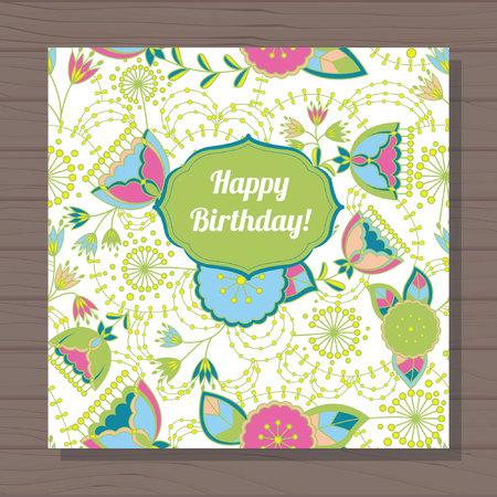 stamen: Vector happy birthday card poppy and dandelion on wooden background