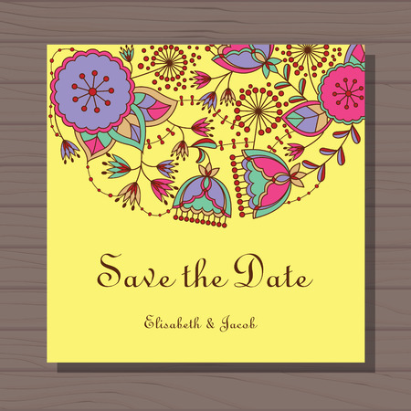 stamens: Vector Wedding invitation with poppy and dandelion on wooden background