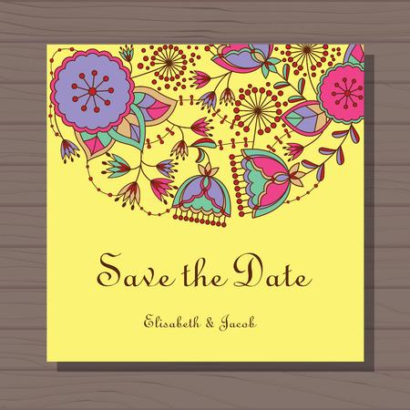 stamen: Vector Wedding invitation with poppy and dandelion on wooden background