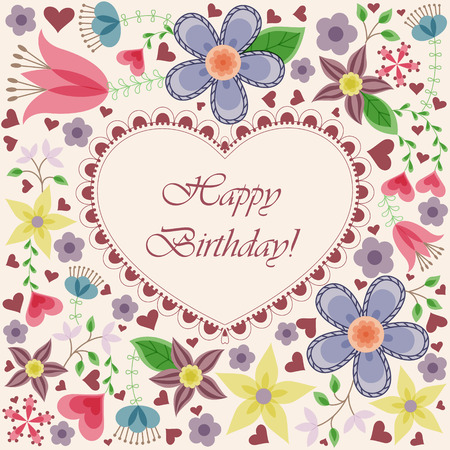 stamen: Vector happy birthday card with heart flowers Illustration