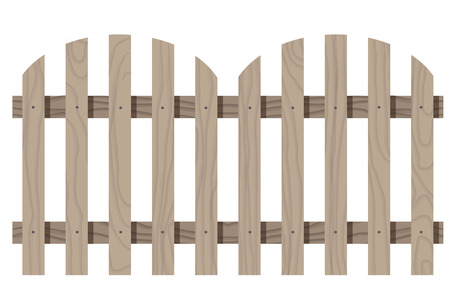 Vector wooden seamless fence rounded shape isolated