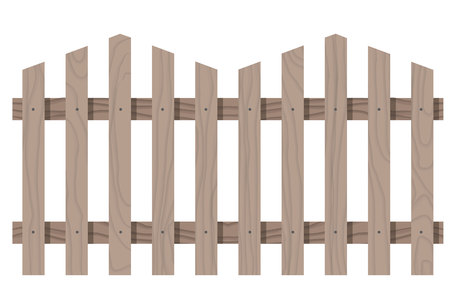 fence post: Vector wooden seamless fence triangular shape isolated