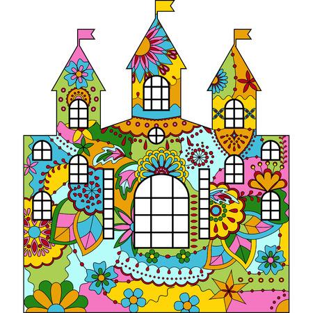 Vector silhouette, stencil, template castle colorful