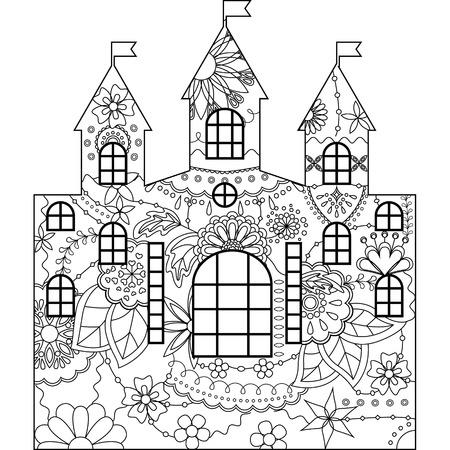 design design elemnt: Vector silhouette, stencil, template castle coloring