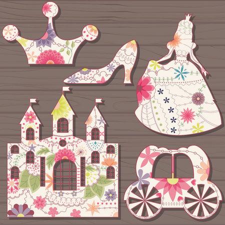 cinderella: Vector Cinderella decorations vintage on wooden background