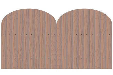 fence post: Vector wooden seamless fence rounded shape isolated