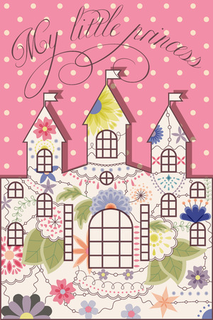 gently: Vector my littless prince vintage background with castle Illustration