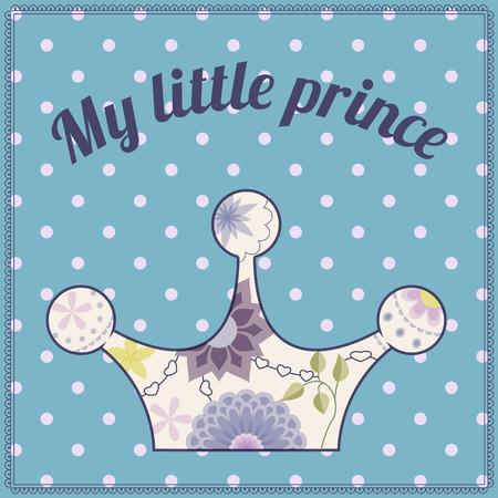 gently blue: my little prince vintage background with crown