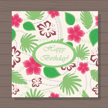 stamen: Vector happy birthday card hawaiian pattern on wooden background Illustration