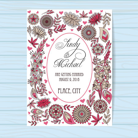 Vector autumn wedding invitation pink on wooden background