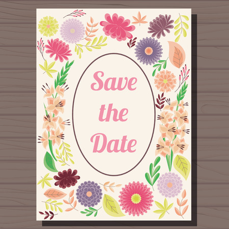 aster: Vector autumn wedding invitation vintage on wooden background Illustration