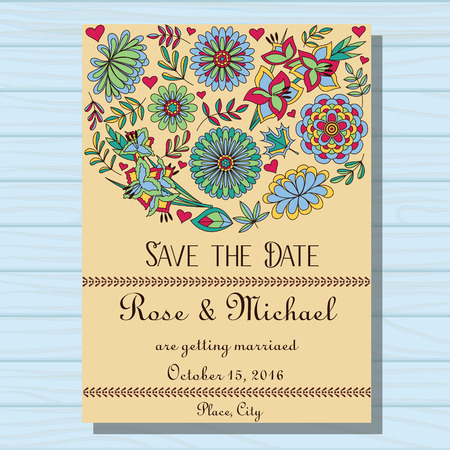 Vector autumn wedding invitation on wooden background