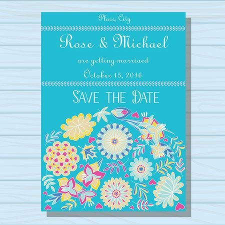 gently blue: Vector autumn wedding invitation blue on wooden background