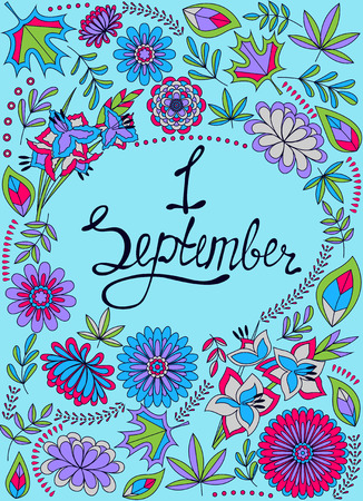 Vector First September background colorful