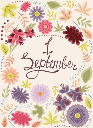 september: Vector First September background vintage