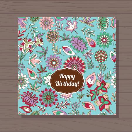 stamens: Vector happy birthday card autumn flowers on wooden background Illustration