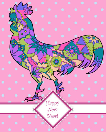 chineese: Vector happy new year card with colorful cock
