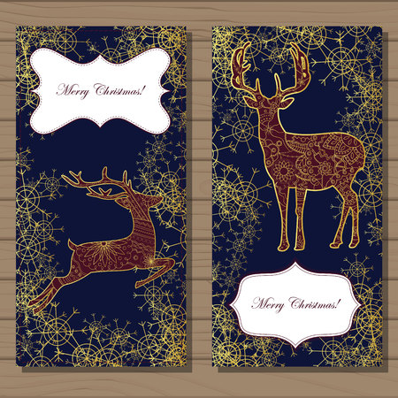 dec  25: Vector Merry Christmas cards with golden deer and snowflakes on wooden background Illustration