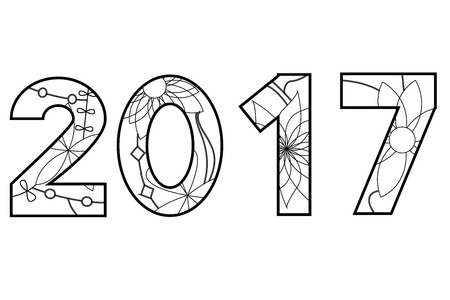 Vector 2017 year black and white