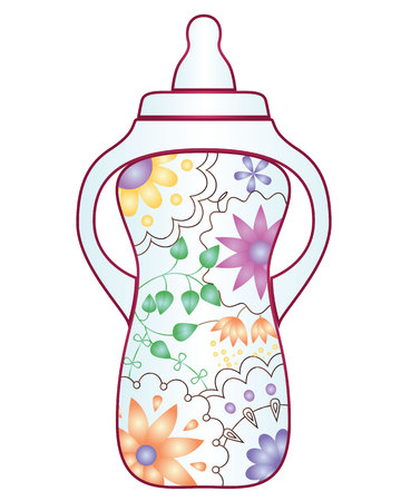 bootle: Vector baby feeding bootle with gradient flowers Illustration
