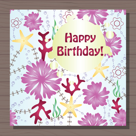 corall: Vector birthday card with gradient flowers
