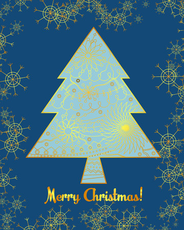 holyday: Vector merry christmas card with tree