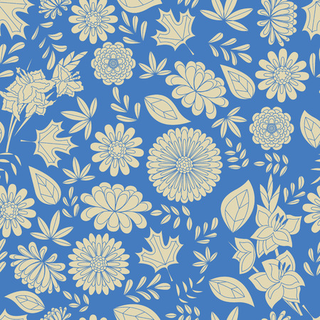 marigold: seamless autumn pattern with flowers blue and gray