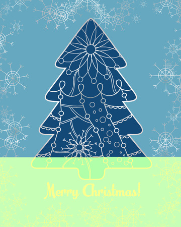 holyday: merry christmas card with tree