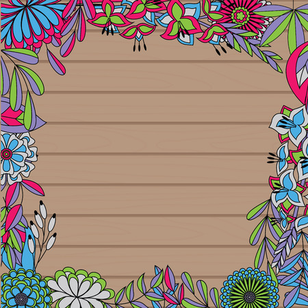 seson: wooden background with autumn frame