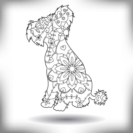 painted dog: Vector chineese crested dog painted silhouette isolated on white