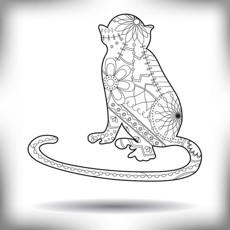 chineese: Vector monkey painted silhouette isolated on white
