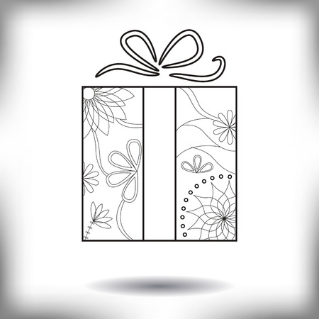 adverts: Vector gift painted silhouette isolated on white Illustration
