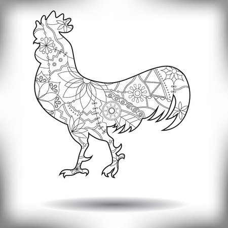 Vector cock painted silhouette isolated on white Illustration