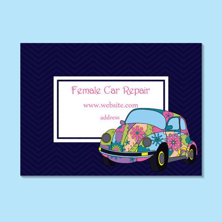 adress: Vector business card for female car repair