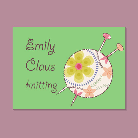 adress: Vector vintage business card for knitting