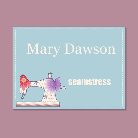seamstress: Vector vintage business card for seamstress