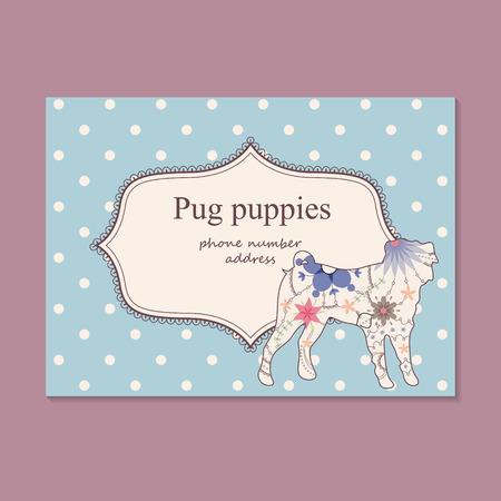 breeder: Vector vintage business card pug puppies