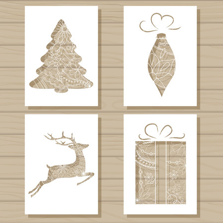 icicle: Vector Christmas set of stencil templates on wooden background Illustration
