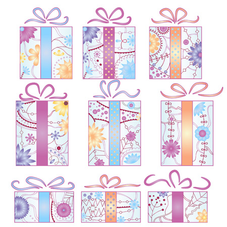 christmas gifts: Vector christmas gifts set gradient isolated