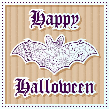 Vector happy hallooween on cardboard background