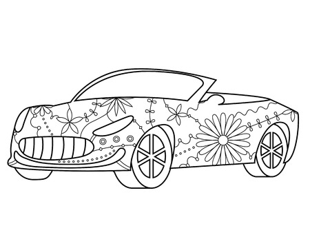 cabriolet: vector isolated car cabriolet coloring